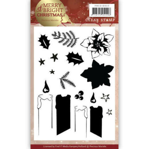 CLEARSTEMPEL A6 PRECIOUS MARIEKE MERRY AND BRIGHT CHRISTMAS KERZE