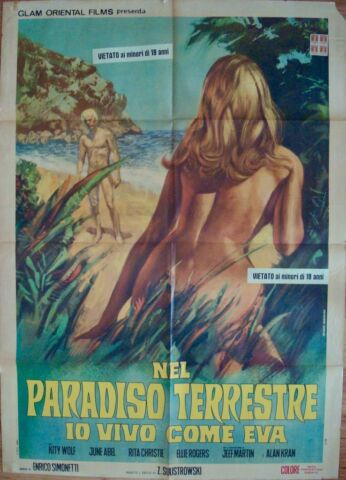 FRENCH GIRL AND THE NUDISTS ITALIENISCH 2F FILMPOSTER 39X55 SEXPLOITATION 1970