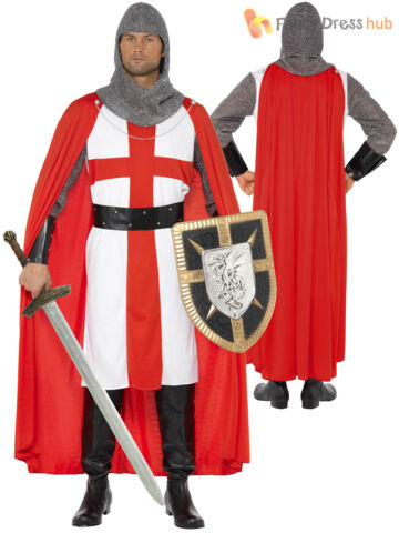 ADULTS ST GEORGE HERO COSTUME MENS KNIGHT FANCY DRESS MEDIEVAL STAG PARTY OUTFIT