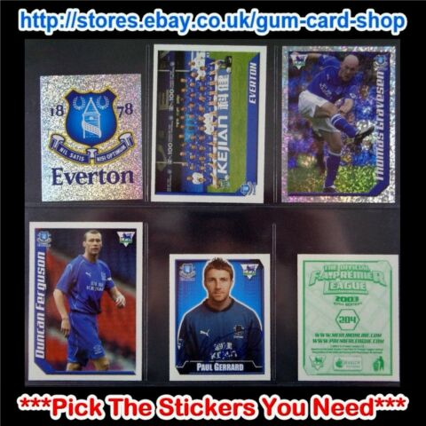 MERLIN PREMIER LEAGUE 2002 2003 200 TO 299 SELECT THE AUFKLEBER YOU NEED
