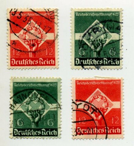 GERMANY 1935 454 455 POSTMARK USED STAMPS