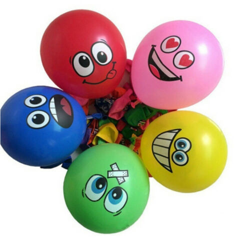 20PCS 12 FACE EXPRESSION LATEX COLORFUL BALLOONS PARTY WEDDING DECOR CN