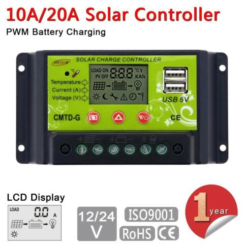10 20A LCD SOLAR PANEL BATTERY REGULATOR CHARGE CONTROLLER 12 24V AUTO SWITCH GI
