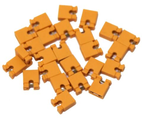 25X 2 54MM MICRO JUMPER YELLOW SHORTING LINK SHUNT WITH OPEN TEST POINT