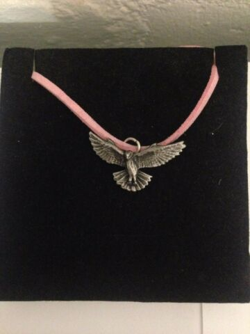 KESTREL R176 ENGLISH PEWTER EMBLEM ON A PINK CORD NECKLACE HANDMADE