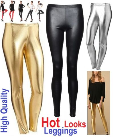 HOT WINTER WARMTHICK HEAVY COTTON AND WET LOOK LATEX LEGGINGS FULL LENGTH WETLG