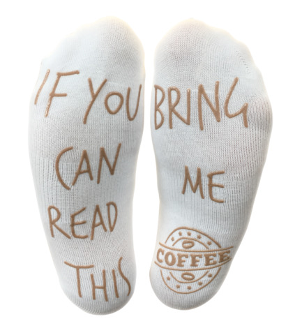 COFFEE SOCKS IF YOU CAN READ THIS BRING ME COFFEE FUNNY ANKLE SOCKS