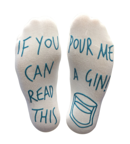 GIN SOCKS POUR ME A GIN FUNNY GIN LOVER WHITE COTTON ANKLE SOCKS