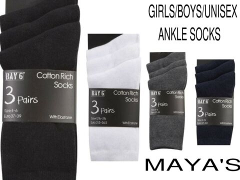 GIRLS BOYS UNISEX SCHOOL ANKLE SOCKS UNIFORM SCHOOL 3 PAIRS ALL SIZES