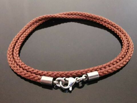 3MM BROWN BRAIDED SILK STYLE NECKLACE WITH STAINLESS STEEL 14 16 18 20 22