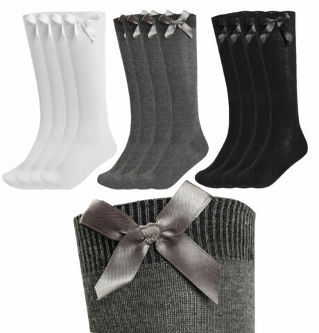 1 3 6 PAIRS GIRLS KNEE HIGH BOW SOCKS SCHOOL UNIFORM PARTY BACK TO SCHOOL UK