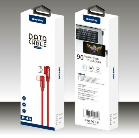 F R IPHONE 5 6 7 8 X XS XR DATA CABLE 2 4A LIGHTNING TO USB CABLE IN ROT SHANGJI