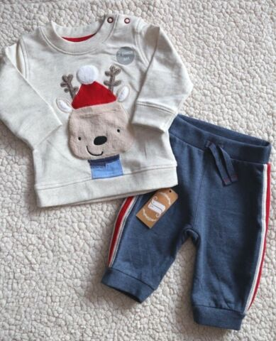 GEORGE BABY SET OUTFIT PULLOVER M RENTIER HOSE ANZUG GR 56 62 NEU