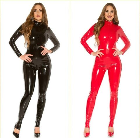 KOUCLA HIGHCOLLAR WETLOOK LACK OPTIK CATSUIT OVERALL