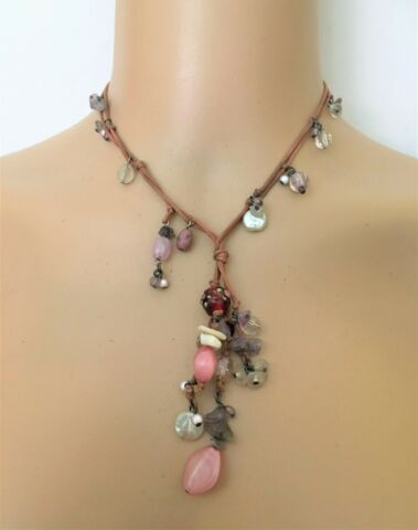 AMETHYST CRYSTAL PINK CLEAR PEARL BEAD CLUSTER DROP PENDANT NECKLACE