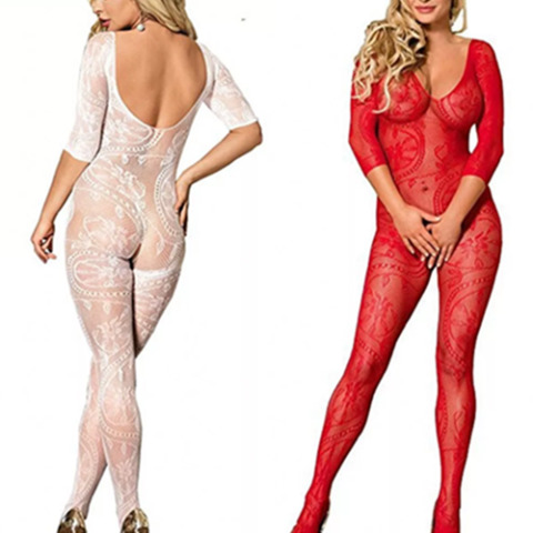 SEXY NETTED LINGERIE SWIRL BODYSTOCKING BODYSUIT CROTCHLESS NIGHTWEAR CATSUIT