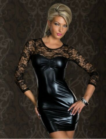 SEXY BODYSUIT KLEID WETLOOK SPITZE CATSUIT LACK LEDER DESIGN HOT CLUBWEAR 739391