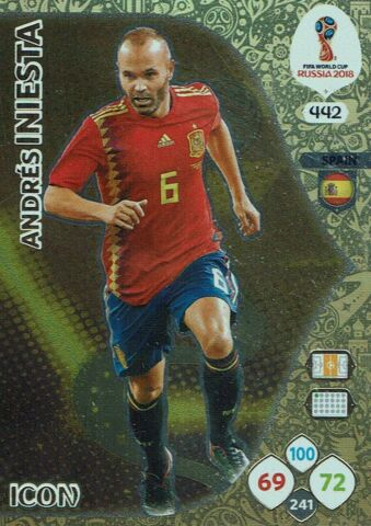 PANINI ADRENALYN XL WORLD CUP 2018 RUSSIA WM NR 442 ICON ANDRES INIESTA SPAIN