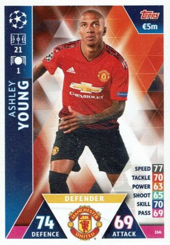 TOPPS MATCH ATTAX CHAMPIONS LEAGUE KARTE NR 166 ASHLEY YOUNG MANCHESTER UNITED