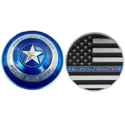 THIN BLUE LINE LIVES MATTER POLICE AMERICA S SHIELD COMMEMORATIVE MEDAL 4H
