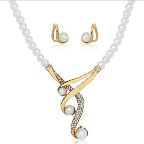 FASHION FAUX PEARL CRYSTAL NECKLACE EARRINGS JEWELRY SET FOR WEDDING PARTY 4H