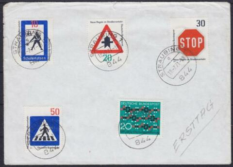 BUND FDC 665 668 GEST STRAUBING 18 02 1971 BRIEF FIRST DAY COVER