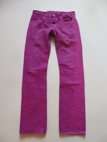 LEVIS 501 JEANS HOSE W 31 L 34 PINK PINK COLOURED DENIM EINZELST CK