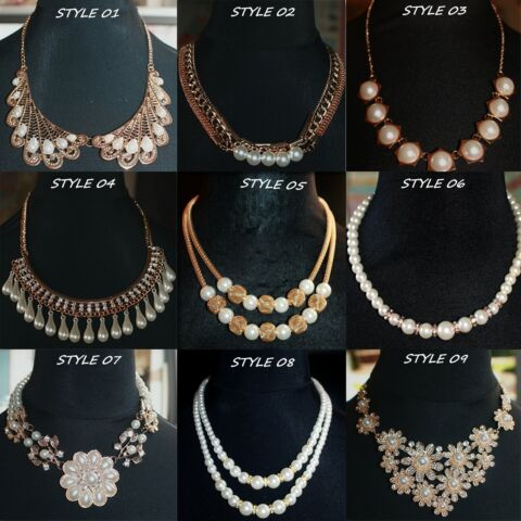 VINTAGE STYLE PATTERN FAUX PEARL NECKLACE STYLE VARIATIONS UK SELLER