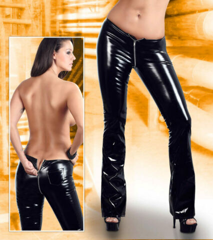 LACK HOSE L 44 46 BLACK LEVEL ZIP SCHWARZ WETLOOK GLANZ JEANS DAMEN PVC ARLAI