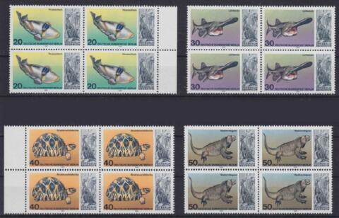 BERLIN MI NR 552 555 4ER BLOCKS TIERE AQUARIUM BERLIN 1977 MNH