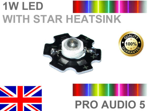 2X 1W RED OR BLUE LED CHIP WITH STAR HEATSINK 660NM 440NM 2 PCS HIGH POWER