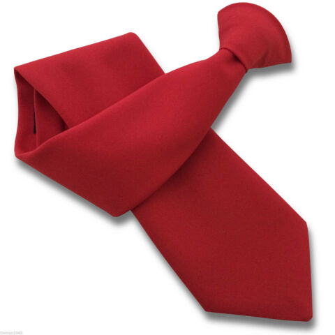 MATT RED SECURITY GUARD OR BOUNCER CLIPPER CLIP ON SNAPPER UNIFORM TIE