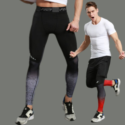HERREN SPORT KOMPRESSION LEGGINGS BASE LAYER LANGE HOSEN SLIM HOSEN FITNESSMODE