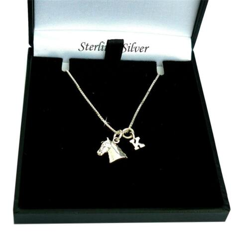 STERLING SILVER HORSE HEAD NECKLACE WITH LETTER CHARM FOR WOMEN AND GIRLS