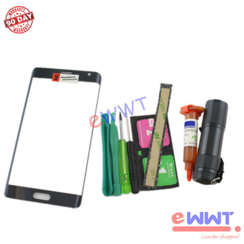 BLACK FRONT SCREEN GLASS LENS UV GLUE FOR SAMSUNG GALAXY NOTE EDGE N915 ZVGS506
