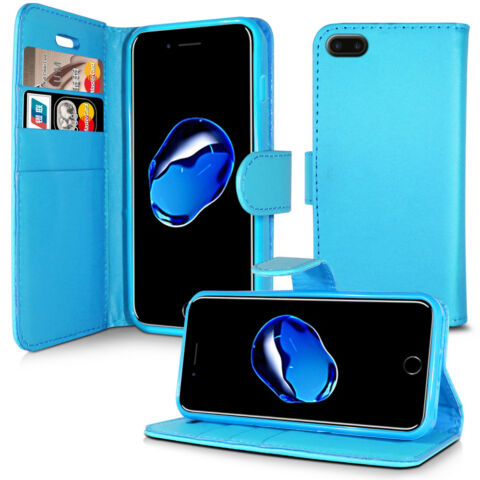 PLAIN SKY BLUE LEATHER WALLET BOOK FLIP CASE FOR APPLE IPHONE 4 5 5C 6 7