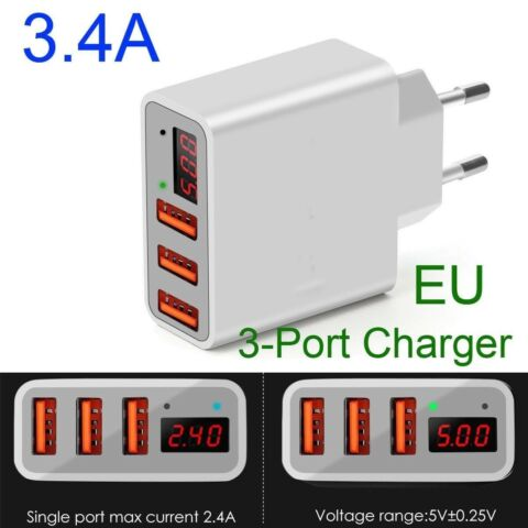3 4A USB QUICK CHARGER PHONE CHARGING DIGITAL DISPLAY ADAPTER FOR IPHONE SAMSUNG