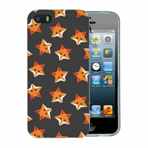FOR APPLE IPHONE 5 5S SE SILICONE CASE FOXES STARS GREY PATTERN S974