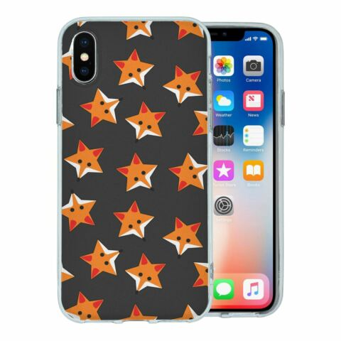 FOR APPLE IPHONE XS SILICONE CASE FOXES STARS GREY PATTERN S974