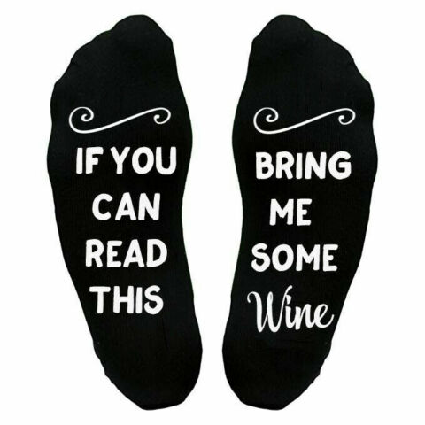 IF YOU CAN READ THIS BRING ME SOME WINE NOVELTY SOCKS BIRTHDAY MOTHERS DAY GIFT