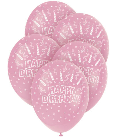 5 STCK LUFTBALLONS HAPPY BIRTHDAY LATEXBALLONS IN PINK F R GEBURTSTAG 30CM