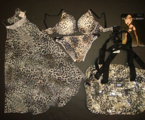 VICTORIAS SECRET 32D BH SET BABYDOLL REISETASCHE PAILLETTE TIER ANGEL