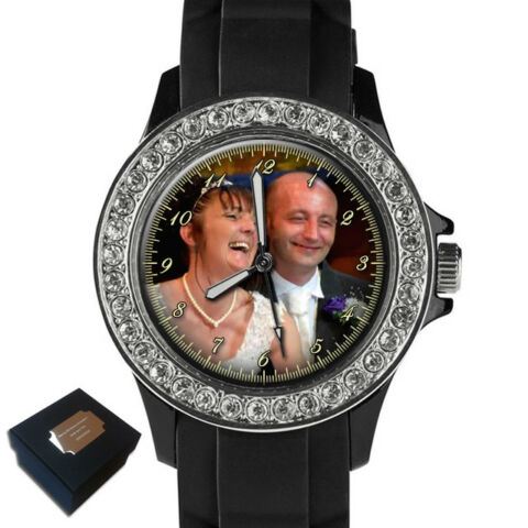 PERSONALISED CUSTOM LADIES SPORT WRIST WATCH YOUR FAMILY PHOTO GIFT ENGRAVING
