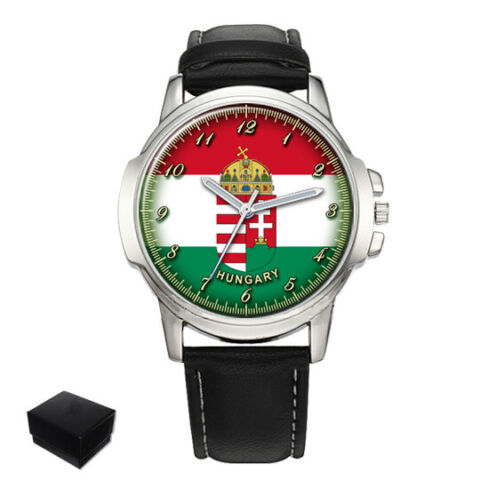 HUNGARY HUNGARIAN FLAG COAT OF ARMS MENS WRIST WATCH ENGRAVING BIRTHDAY GIFT