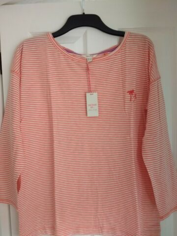 WHITE STUFF BEACH DAZE JERSEY TEE TOP SATSUMA ORANGE STRIPE UK 18 EUR 46 US 14