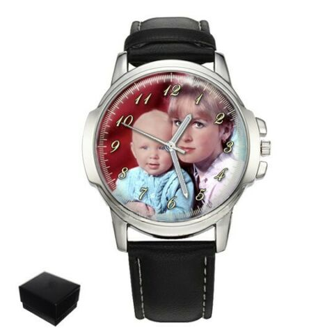 PERSONALISED CUSTOM GENTS WRIST WATCH YOUR FAMILY PHOTO FATHERS DAY ENGRAVING