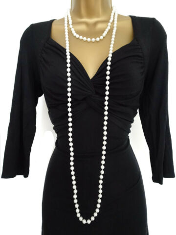 FAB 70 LONG FAUX PEARL BEAD ROPE STRAND NECKLACE FLAPPER STYLE FANCY DRESS UP