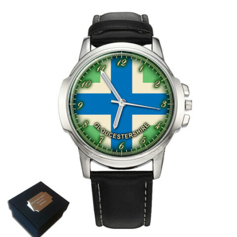 GLOUCESTERSHIRE COUNTY FLAG MENS WRIST WATCH ENGRAVING BIRTHDAY FATHERS DAY GIFT
