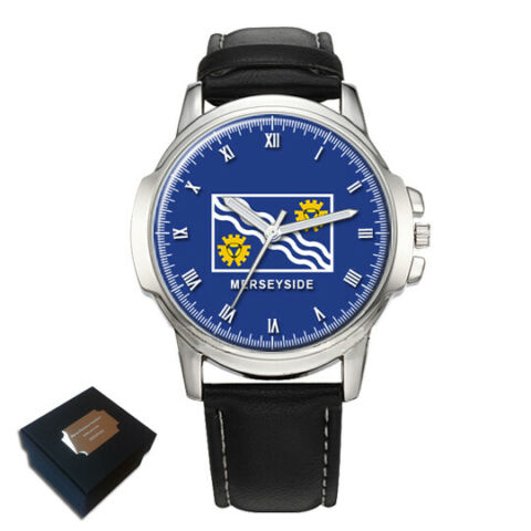 MERSEYSIDE COUNTY FLAG MENS WRIST WATCH ENGRAVING BIRTHDAY FATHERS DAY GIFT