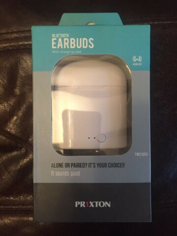 BRAND NEW IN BOX PRIXTON TWS100C BLUETOOTH EARBUDS IN WHITE WITH CHARGING CASE